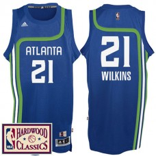 2016-17 Season Atlanta Hawks #21 Hardwood Classics Throwback Royal Jersey Dominique Wilkins