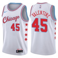 2017-18 Season Denzel Valentine Chicago Bulls #45 City Edition White Swingman Jersey