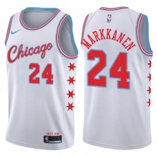 2017-18 Season Lauri Markkanen Chicago Bulls #24 City Edition White Swingman Jersey